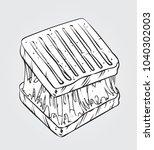 black and white vector... | Shutterstock .eps vector #1040302003