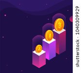 golden cryptocoins on podium ... | Shutterstock .eps vector #1040309929