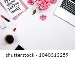 woman workspace with laptop ... | Shutterstock . vector #1040313259