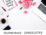woman workspace with laptop ... | Shutterstock . vector #1040313793