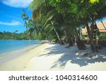 tropical white sand  palm trees ... | Shutterstock . vector #1040314600
