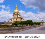 Les Invalides church in Paris, France. - stock photo
