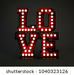 love headline made of red rusty ... | Shutterstock . vector #1040323126