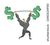 businessman lifting up barbell... | Shutterstock .eps vector #1040324950