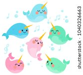 cute singing narwhals in white... | Shutterstock .eps vector #1040326663