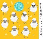 cute dancing sheep in yellow... | Shutterstock .eps vector #1040330959