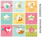 Set Of Colorful Baby Cards   ...