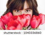 beautiful stylish girl with... | Shutterstock . vector #1040336860