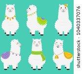 happy alpacas in teal background | Shutterstock .eps vector #1040337076