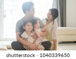 parents and children sitting on ... | Shutterstock . vector #1040339650