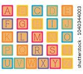 alphabet blocks in white... | Shutterstock .eps vector #1040344003