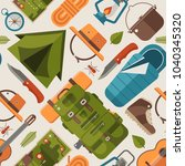 summer camping pattern with...