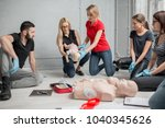 people learning how to safe a... | Shutterstock . vector #1040345626