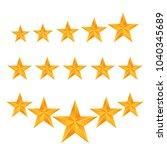 gold stars set on white bg eps... | Shutterstock .eps vector #1040345689