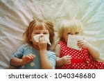 kids wiping and blowing nose | Shutterstock . vector #1040348680