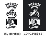 vintage bikers club black and... | Shutterstock .eps vector #1040348968