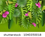 tropical leaves  flowers and... | Shutterstock .eps vector #1040350018