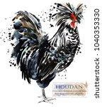 houdan rooster. poultry farming.... | Shutterstock . vector #1040353330