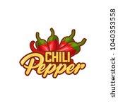 chilli pepper logo food label... | Shutterstock .eps vector #1040353558