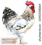 delaware rooster. poultry... | Shutterstock . vector #1040358064