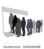 group of people waiting in line ... | Shutterstock .eps vector #1040360008
