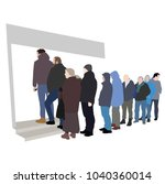 group of people waiting in line ... | Shutterstock .eps vector #1040360014