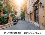 old cozy street in rome  italy. ... | Shutterstock . vector #1040367628