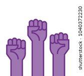 fists hands up vector... | Shutterstock .eps vector #1040372230