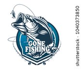 fishing bass logo. bass fish... | Shutterstock .eps vector #1040373850