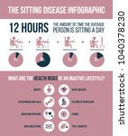 the sitting disease infographic.... | Shutterstock .eps vector #1040378230