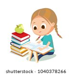 little girl reading | Shutterstock .eps vector #1040378266