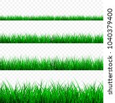 green grass border set  vector... | Shutterstock .eps vector #1040379400