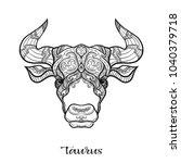 taurus  bull  ox zodiac sign.... | Shutterstock .eps vector #1040379718