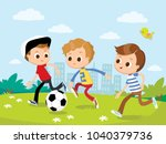 boys play football soccer on... | Shutterstock .eps vector #1040379736