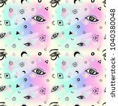 seamless boho pattern with eyes.... | Shutterstock .eps vector #1040380048