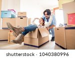 couple moving to a new home  ... | Shutterstock . vector #1040380996