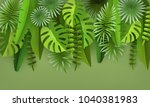tropical leaves and plants.... | Shutterstock .eps vector #1040381983