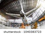 large passenger aircraft on... | Shutterstock . vector #1040383723