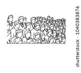 crowd of indian people... | Shutterstock .eps vector #1040383876