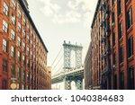 manhattan bridge seen from... | Shutterstock . vector #1040384683
