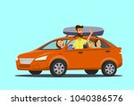 happy family goes by car on... | Shutterstock .eps vector #1040386576