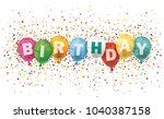 colored balloons with confetti...   Shutterstock .eps vector #1040387158