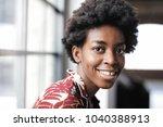 portrait of cheerful woman  | Shutterstock . vector #1040388913