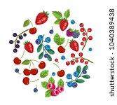 fresh fruits and berries....   Shutterstock .eps vector #1040389438