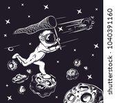astronaut catches a comet in... | Shutterstock .eps vector #1040391160