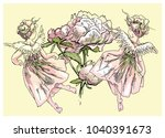 angel and flowers vector...   Shutterstock .eps vector #1040391673