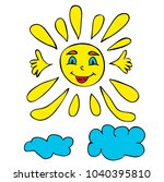 vector  character sun and clouds | Shutterstock .eps vector #1040395810