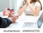 young woman getting fired from... | Shutterstock . vector #1040410753