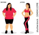 thin and fat. obesity. from fat ... | Shutterstock . vector #1040411398