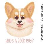 happy cute corgi portrait...   Shutterstock . vector #1040412058